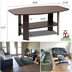 Dark Brown Table Coffee Living Room Round Storage Tier Sturdy Desk Home Decor PV #Furinno #RoundCorner