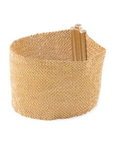 Made In Italy 14k Gold Hand Woven Wide Mesh Bracelet