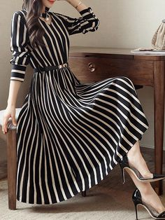 #Valentines #AdoreWe #BerryLook - #berrylook Round Neck Cutout Vertical Striped Belt Midi Skater Dress - AdoreWe.com