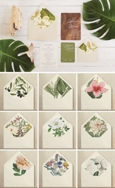 A collection of wedding invitations featuring flower and green leave prints.