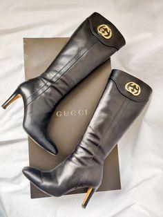 Vintage Gucci, Vintage Black, Jessica Owens, Soft Leather, Black Leather, Gucci Boots, Vintage Boutique, Heeled Boots, Calves