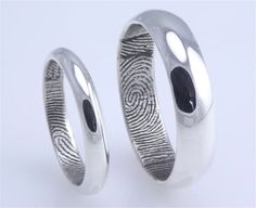 These are the ones! Custom traditional half round fingerprint ring in sterling silver (set of two) with High Polish