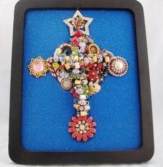 Cross My Heart OOAK Vintage Jewelry Art With Folkart Beaded Cross 3D. Stand Or Hang - kjs