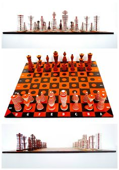Chess set made from a cardboard packing box, which was cut into different-sized pellets, and a shopping bag, which was cut into strips, hand-rolled into paper pearls, and mounted on hatpins. The edges of the pellets were painted with wax, for a brown and white leather-like effect. The heads of... #Bag, #Cardboard, #Chess, #Game, #Upcycled