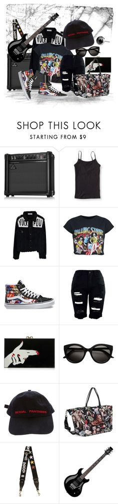"""""""rock n roll ain't noise pollution"""" by caroline-buster-brown ❤ liked on Polyvore featuring Aéropostale, Vans, Charlotte Olympia, Vetements, Valentino, Floyd and floralsneakers"""