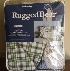 Rugged Bear Dinosaur 4pc Comforter Twin Bed Pillow Set Navy Green Gray New Ruggedbear
