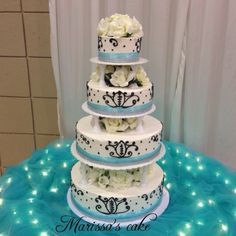 Teal quinceañera cake. Visit us Facebook.com/marissa'scake.