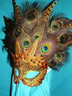 Handmade Mask with  peacock pheasant and coquil by ronaldcmarr