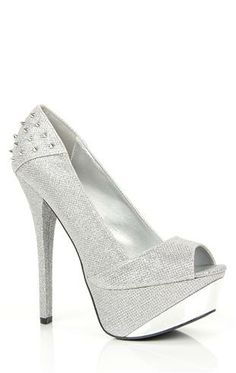 Deb Shops fabric glitter #pump with spikes $38.90
