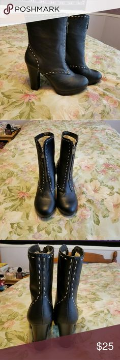 NWT Black Stitch Designed Booties with Fur Lining Brand new and never worn! Very cute and comfortable. Has a 4 inch heel. You can fold down the top part and show the faux fur lining while wearing the booties. Shoes Ankle Boots & Booties