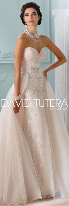 The David Tutera for Mon Cheri Spring 2016 Wedding Gown Collection - Style No. 116228 Edan #tulleweddingdresses   @moncheribridals