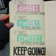 Bullet Journal Junkies @ FB 4 weeks for you, 8 weeks for friends, 12 weeks for the world.  fitness motivation