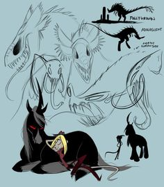 Sketches of Carrie and Brutis by Vivziepop. #Zoophobia #Vivzmind