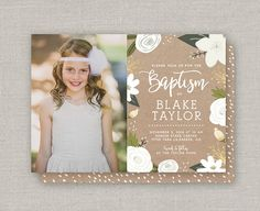 LDS Baptism Invitation Blake by announcingyou on Etsy Baptism Announcement, Baptism Invitations, Custom Cards, Party Printables, Lds, White Envelopes, Christening, Event Planning, Baby Shower