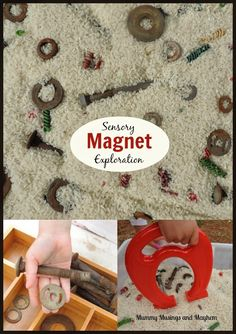 Fine Motor Sensory Fun With Magnets And Recycled Materials - See More At Mummy Musings And Montessori Activities, Motor Activities, Science Activities, Preschool Activities, Maria Montessori, Day Care Activities, Family Day Activities, Sensory Tubs, Sensory Boxes