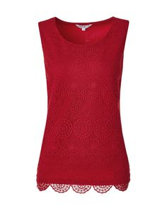 This crochet front style is a great staple for different occasions. Easily pairs with a pencil skirt for the office or with jeans and a sweater for the weekend. Tunic Blouse, Floral Blouse, Sleeveless Blouse, Black Silk Blouse, Red Blouses, Clothes For Women, My Style, Crochet, Womens Fashion