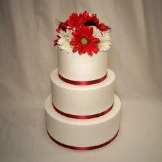 Red gerbera daisy cake topper