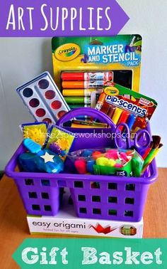 Easy and FUN Art Supplies DIY Gift Basket Caddy via - Do it Yourself Gift Baskets Ideas for All Occasions - Perfect for Christmas, Birthdays or anytime! baskets for kids This Weeks √ Corporate Gifts Ideas for men and women Fundraiser Baskets, Raffle Baskets, Gift Baskets For Men, Themed Gift Baskets, Basket Gift, Theme Baskets, Gift Baskets For Christmas, Unique Gift Basket Ideas, Raffle Gift Basket Ideas
