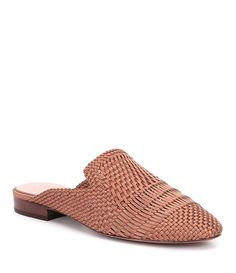 AD and Daughters Brookshire Satin and Leather Woven Dress Mules #Dillards