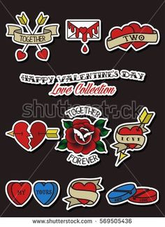 Vector Happy Valentine's Day Stickers Set Vintage Traditional Tattoo Designs Flash Hearts, Arrows, Roses, Flowers, Ribbons, Envelope, Confession