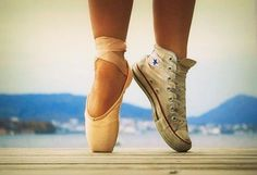 Pointe shoes and converse. This is so me!