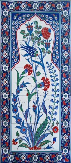İznik Çinisi-60x120 el dekor çini-İznik karanfilli pano ED-25 A   Ceramicaturk   İznik