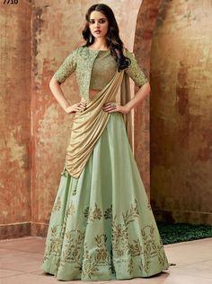 New Collection of Sarees,Salwar Kameez/Suits,Lehenga Choli,Kurtis,Tunics Indian Gowns Dresses, Indian Fashion Dresses, Indian Designer Outfits, Designer Dresses, Designer Sarees, India Fashion, Dress Fashion, Green Lehenga, Silk Lehenga