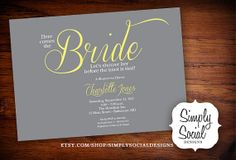 ONE OF CASEY'S FAVORITES ~~~ Here Comes the Bride Bridal Shower by SimplySocialDesigns on Etsy, $18.00