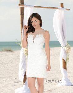 0b15a3902f POLY USA - Style 7656 - Short dress. Destination wedding dress. Off White  dress