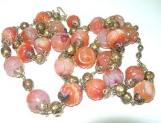 Vintage Art Deco Chinese Carved Carnelian Stone Bead Heavy Gold Tone Necklace | eBay