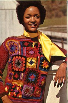 1970's Patchwork Granny Squares Pullover Sweater Crochet