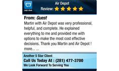 Martin with Air Depot was very professional, helpful, and complete.  He explained...