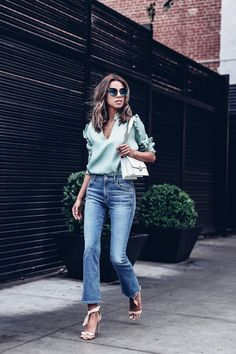 Mint ruffle top + blue cropped flare jeans
