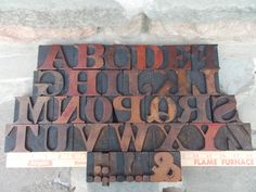 Vintage Wood Letterpress Type Print Block Full Upper Case Alphabet and Some Punctuation 1930s via Etsy.