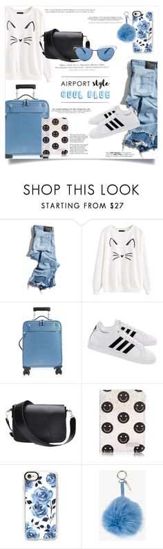 """""""Airport Style - Cool Blue"""" by elimarga ❤ liked on Polyvore featuring R13, Tiffany & Co., Serapian, adidas, H&M, Casetify, Fendi, Oliver Peoples and airportstyle"""
