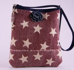 Raspberry Americana Star Bag, Americana, Stars, Red white and blue, Patriotic, Unique, Handmade, Heavy duty, Rustic, Primitive, Hipster by TotellyUnique on Etsy