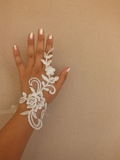 Unique ivory french lace gloves free ship wedding by Worldofgloves, $25.00