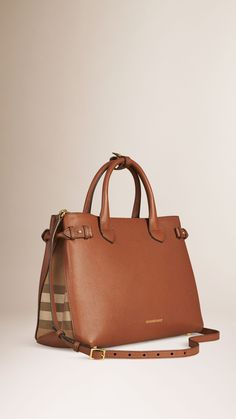 The Medium Banner in Leather and House Check Tan | Burberry