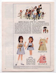Vintage Betsy McCall Paper Dolls 1965 BETSY MCCALL GOES TO A WEDDING/uncut page | eBay
