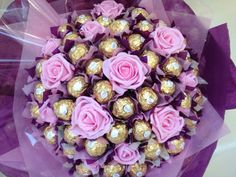 Ferrero Rocher chocolate bouquet, handmade in colours selected by the client #purple #pink #gold