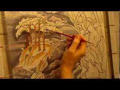 ▶ Irises on silk. Silk art by Svetlana Salitan. Seidenmalerei Pintura en seda, ציור משי , 絹の絵画 - YouTube