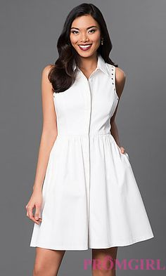 Short White Collared Dress by Jessica Simpson at PromGirl.com