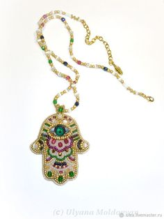 Buy Pendant-amulet Hamsa with a green eye on Livemaster online shop