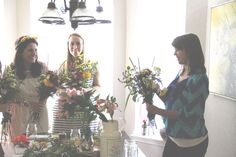 Flower Potluck Wedding Shower - everyone bring a favorite kind of flower to make bouquets