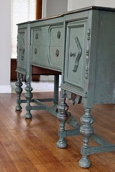 Remodelaholic | How to Refinish an Old Buffet, Furniture Re-do!