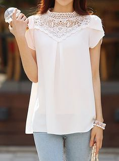 Stylish Solid Color Lace Embellished Round Neck Chiffon T-Shirt For Women Modelista, Sammy Dress, Shirt Shop, Blouse Designs, Girl Outfits, Chiffon, Tunic Tops, T Shirts For Women, Lace