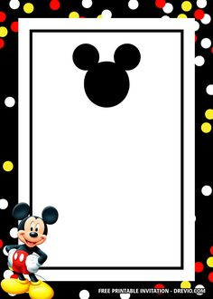 Mickey mouse is a funny animal cartoon character and the mascot of the Walt Disney Company. It's an anthropomorphic mouse who typically wears red shorts, large yellow shoes, and white gloves. Though originally characterized as a cheeky lovable rogue, Mickey Mouse Template, Mickey Mouse Birthday Invitations, Kids Birthday Party Invitations, Mickey Birthday, Mickey Mouse Free Printables, Mickey Mouse Photos, Mickey Mouse Head, Baby Mickey, Mickey Mouse Classroom