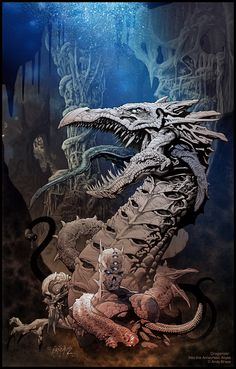 Dragonizor: Into the Amaurotic Abyss (Color version)  Traditional pencil and ink with digital color creature and setting design art copyright Andy Brase  https://www.facebook.com/AndyBraseArt