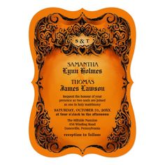 Shop Halloween Wedding Invite - Orange & Black Border created by Personalize it with photos & text or purchase as is! Halloween Wedding Invitations, Orange Wedding Invitations, Affordable Wedding Invitations, Wedding Invitation Templates, Custom Invitations, Halloween Weddings, Invitation Wording, Invites, Invitation Ideas