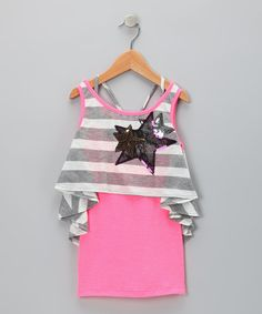 Take a look at this Pink Star Layered Crop Top - Girls by Sweetheart Jane on #zulily today! #zulily #fall